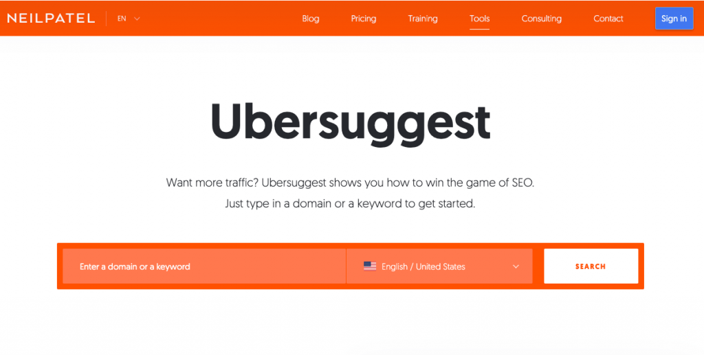 Ubersuggest best keyword research tool and All in One SEO Platform